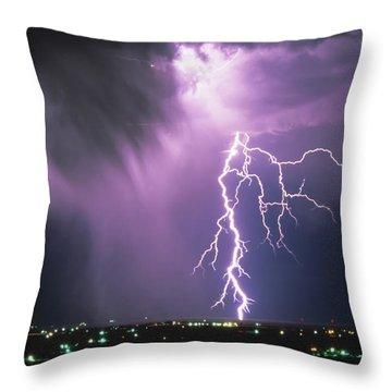 Lightning Storm Throw Pillow by Leland D Howard