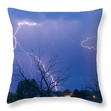 Lightning Storm On 17th Street Fine Art Print Throw Pillow by James BO  Insogna