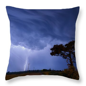 Lightning Storm On A Lonely Country Road Throw Pillow