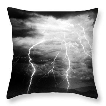Lightning Storm Over The Plains Throw Pillow
