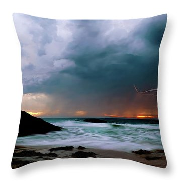 Lightning Strike Off Dana Point California Throw Pillow