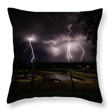 Throw Pillow featuring the photograph Lightning Strikes by Chris Cousins