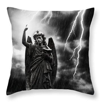 Lightning Strikes The Angel Gabriel Throw Pillow by Amanda Elwell