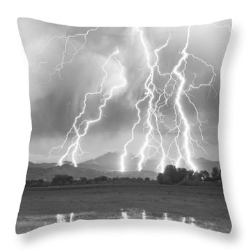 Lightning Striking Longs Peak Foothills 4cbw Throw Pillow