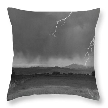 Lightning Striking Longs Peak Foothills 5bw Throw Pillow