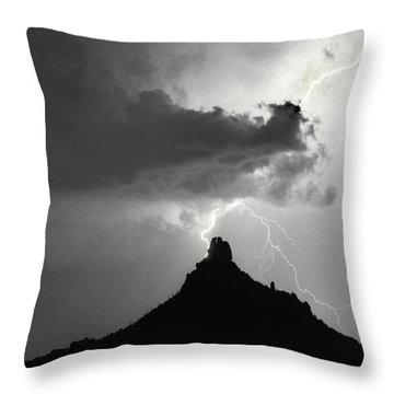 Lightning Striking Pinnacle Peak Arizona Throw Pillow by James BO  Insogna