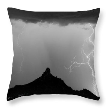 Lightning Thunderstorm At Pinnacle Peak Bw Throw Pillow by James BO  Insogna