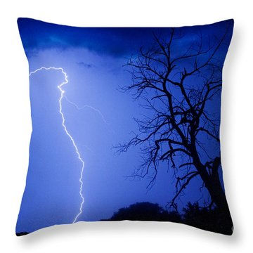 Lightning Tree Silhouette Throw Pillow by James BO  Insogna