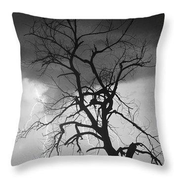 Lightning Tree Silhouette Portrait Bw Throw Pillow