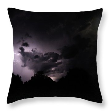 Lightning With Stars And Moon  Throw Pillow by Todd Krasovetz