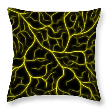 Throw Pillow featuring the photograph Lightning - Yellow by Shane Bechler
