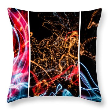 Lightpainting Triptych Wall Art Print Photograph 5 Throw Pillow