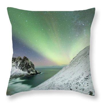 Lights Above Kvalvika Throw Pillow