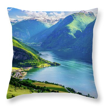 Throw Pillow featuring the photograph Lights And Shadows Of Sognefjord by Dmytro Korol