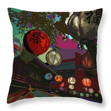 lights are on in little Tokyo Throw Pillow