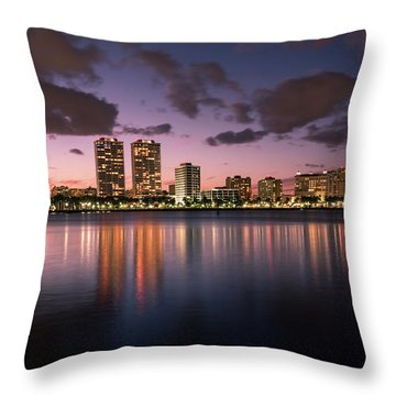 Lights At Night In West Palm Beach Throw Pillow