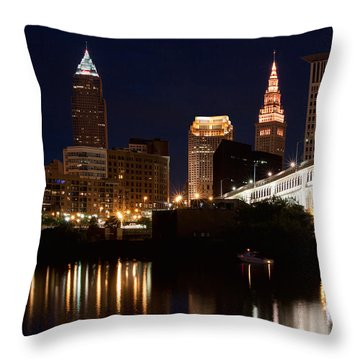 Lights In Cleveland Ohio Throw Pillow