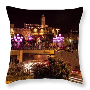 Lights In Jerusalem Throw Pillow