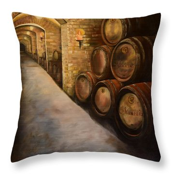 Lights In The Wine Cellar - Chateau Meichtry Vineyard Throw Pillow