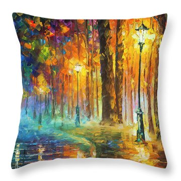 Lights Throw Pillow by Leonid Afremov