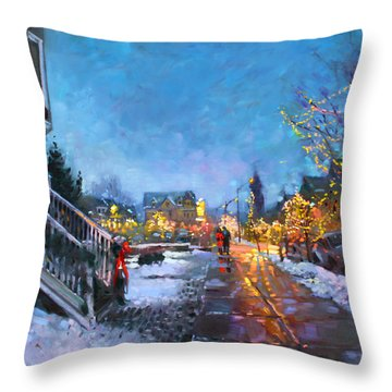 Lights On Elmwood Ave Throw Pillow