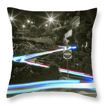 Lights On Lombard Black And White Throw Pillow