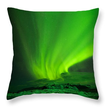 Lights Over Jokulsarlon Throw Pillow by Chris McKenna