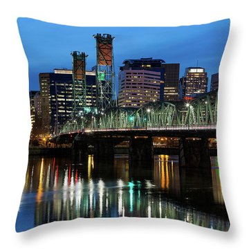 Ligth Trails On Hawthorne Bridge At Blue Hour Throw Pillow by David Gn