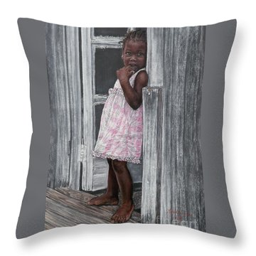 Lil' Girl In Pink Throw Pillow