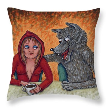 Lil' Red Hoodie Throw Pillow by Holly Wood