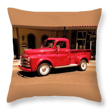 Lil Red Truck On A Dusty Street Throw Pillow