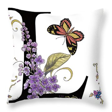 Lilac And Large Tiger Butterfly Throw Pillow by Stanza Widen