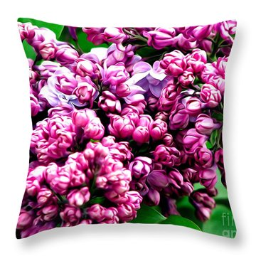 Throw Pillow featuring the photograph Lilac Blossoms Abstract Soft Effect 1 by Rose Santuci-Sofranko