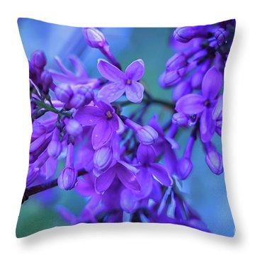 Lilac Blues Throw Pillow by Elizabeth Dow