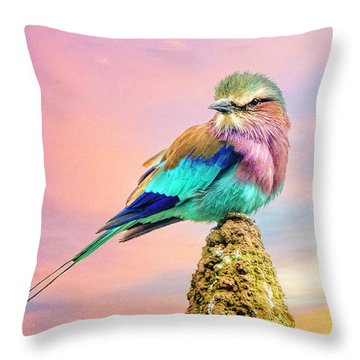 Lilac Breasted Roller At Sunset Throw Pillow