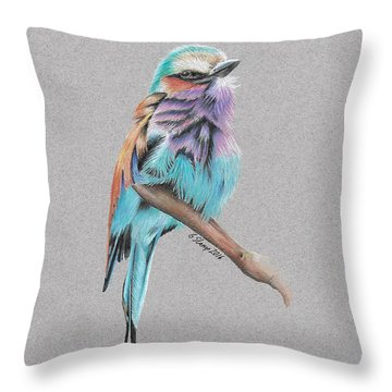 Throw Pillow featuring the drawing Lilac Breasted Roller by Gary Stamp