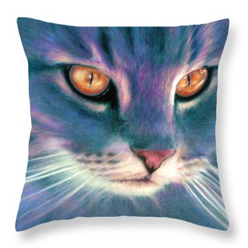 Lilac Cat Throw Pillow