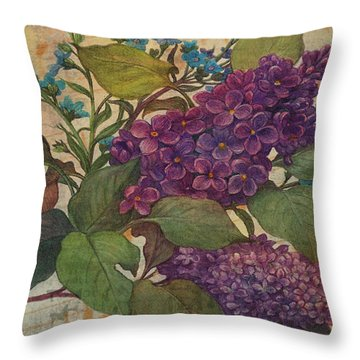 Lilac Dreams Illustrated Butterfly Throw Pillow