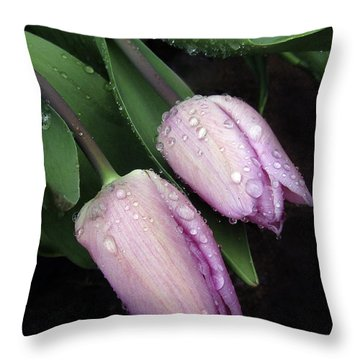 Lilac Drops Throw Pillow