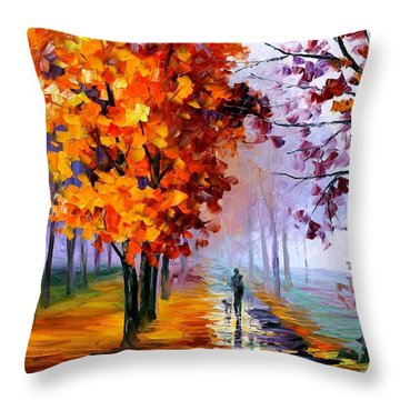 Lilac Fog Throw Pillow by Leonid Afremov