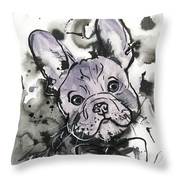 Throw Pillow featuring the painting Lilac Frenchie by Zaira Dzhaubaeva
