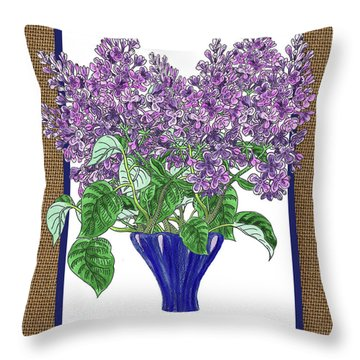 Lilac Garden Bouquet Watercolor Throw Pillow