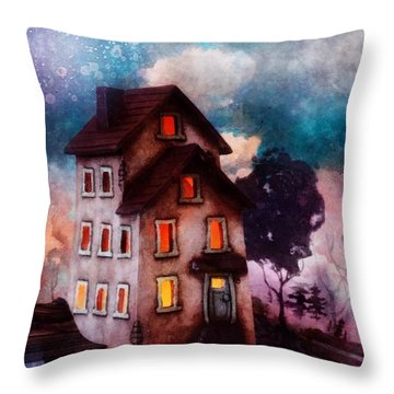 Lilac Hill Throw Pillow by Mo T