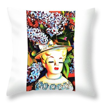Lilac Lady Throw Pillow by Karen Newell