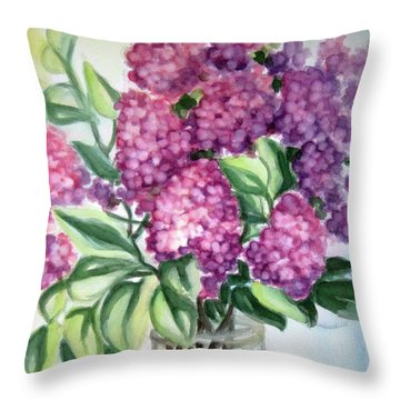 Lilac On The Kitchen Table Throw Pillow