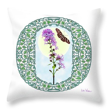 Throw Pillow featuring the digital art Lilac With Butterfly by Lise Winne