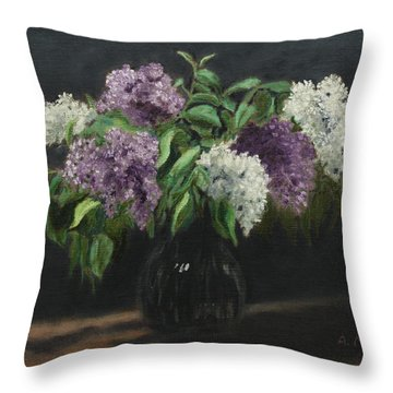 Lilacs Throw Pillow by Alan Mager