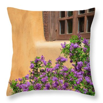 Lilacs And Adobe Throw Pillow