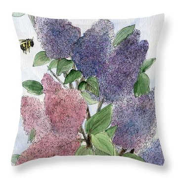 Lilacs And Bees Throw Pillow