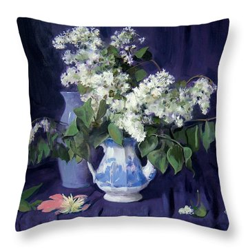 Lilacs And Blue Throw Pillow